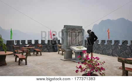 Tourists Visit The Monument In Hagiang, Vietnam
