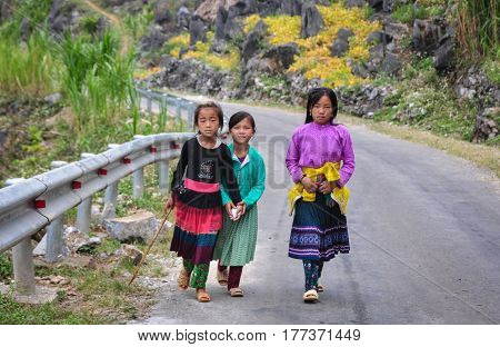 Ethnic People At Mounain Village In Vietnam