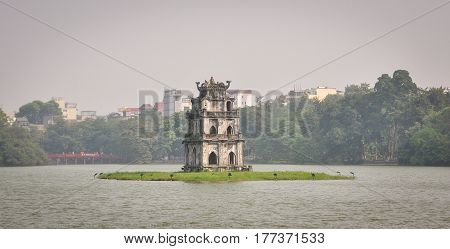 Turtle Tower On The Lake In Hanoi, Vietnam