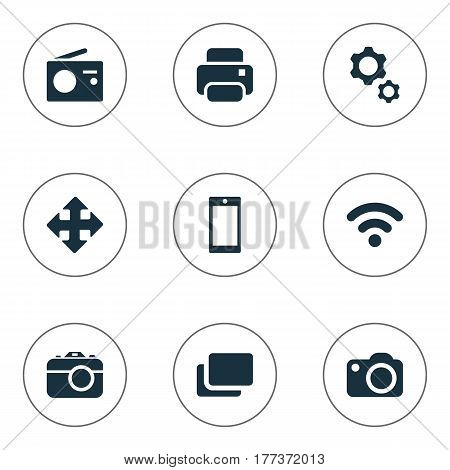 Vector Illustration Set Of Simple Device Icons. Elements Wireless Connection, Tuner, Smartphone And Other Synonyms Branch, Radio And Photocopier.