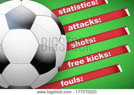 Background of Football Soccer sports. Infographic of list and schedule of players and statistics. Ball with red ribbon on green background. Vector Illustration.