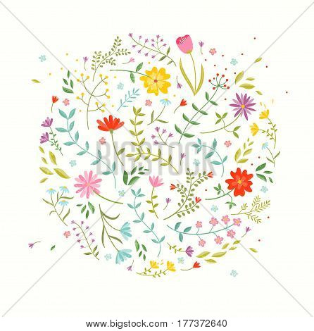 Floral design element. Greeting card with cute flowers. EPS10 vector illustration.