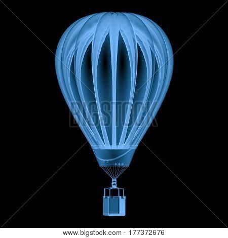 X Ray Hot Air Balloon Isolated On Black