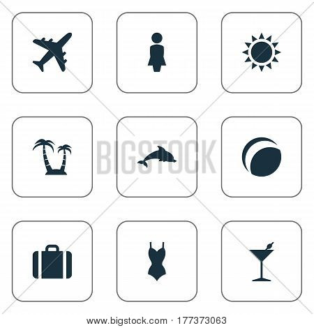 Vector Illustration Set Of Simple Beach Icons. Elements Sun, Cocktail, Bikini And Other Synonyms Sun, Cocktail And Sea.