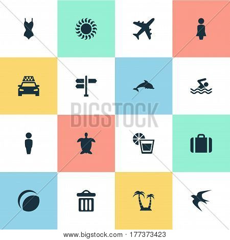 Vector Illustration Set Of Simple Seaside Icons. Elements Palm, Taxi, Suitcase And Other Synonyms Lady, Baggage And Lemonade.