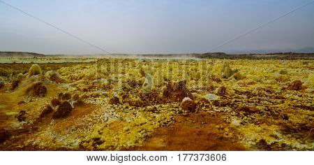 Salt structure close-up inside Dallol volcanic crater in Danakil depression Afar Ethiopia