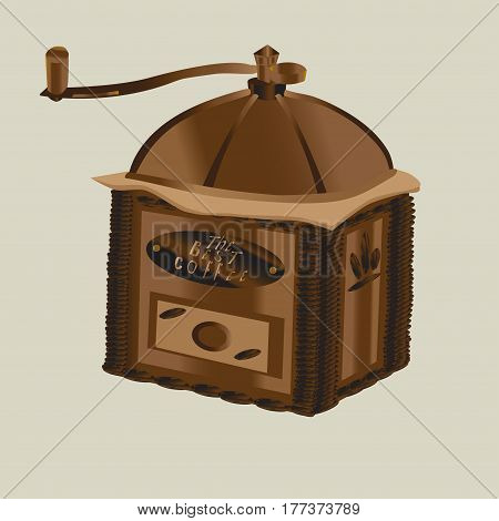 Retro coffee-mill vector illustration in flat style isolated. The coffee-mill is decorated with coffee beans.