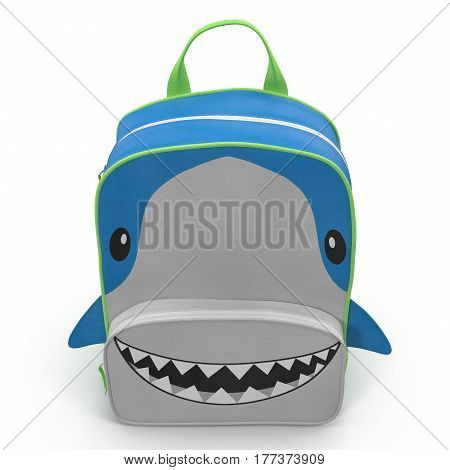 Shark Kids Back Pack on a white background. Front view. 3D illustration