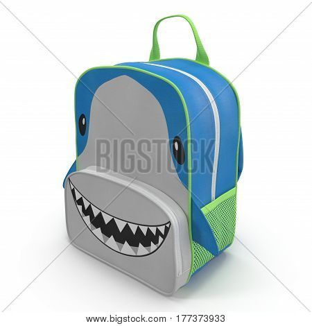 Little Kid Backpack Shark on a white background. 3D illustration