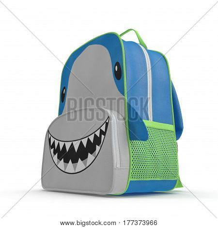 Boys Shark School Backpack on white background. 3D illustration