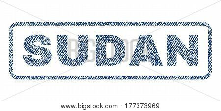 Sudan text textile seal stamp watermark. Blue jeans fabric vectorized texture. Vector tag inside rounded rectangular banner. Rubber sign with fiber textile structure.