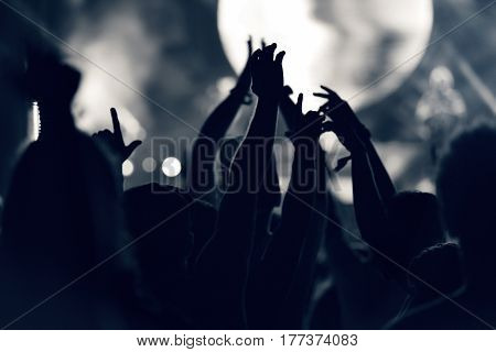 Crowd At A Music Concert, Audience Raising Hands Up, Toned