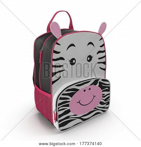 Child's Backpack Zebra Design on a white background. 3D illustration