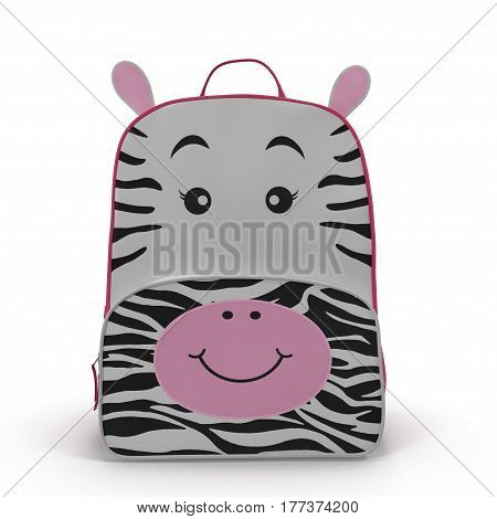 Girls Zebra School Backpack on a white background. Front view. 3D illustration