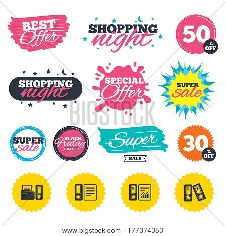 Sale shopping banners. Special offer splash. Accounting report icons. Document storage in folders sign symbols. Web badges and stickers. Best offer. Vector