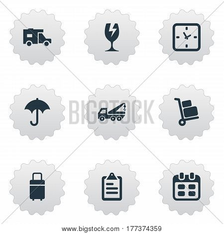Vector Illustration Set Of Simple Conveyance Icons. Elements Trip Luggage, Clipboard, Day And Other Synonyms Glass, Eviction And Vehicle.