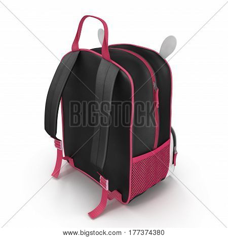 Toddler Baby Child Backpack Animal on a white background. Rear view. 3D illustration