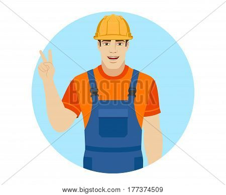 Builder showing victory sign. Two fingers up. Portrait of builder in a flat style. Vector illustration.