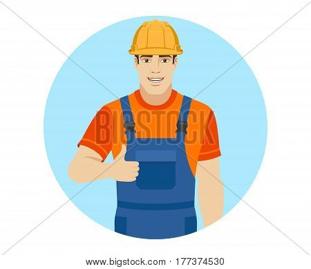 Builder shows thumb up. Portrait of builder in a flat style. Vector illustration.