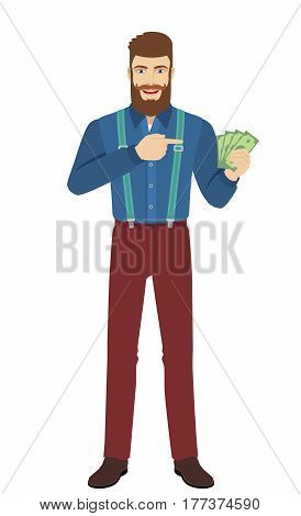 Hipster pointing at cash money in his hand. Full length portrait of hipster in a flat style. Vector illustration.
