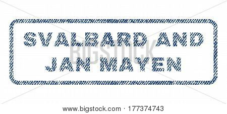 Svalbard and Jan Mayen text textile seal stamp watermark. Blue jeans fabric vectorized texture. Vector tag inside rounded rectangular shape. Rubber sticker with fiber textile structure.