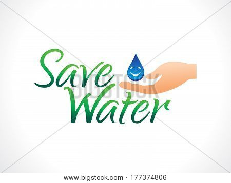 abstract artistic save water text vector illustration