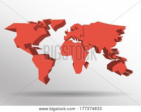 Red 3D map of world with dropped shadow on background. Worldwide theme wallpaper. Rendered three-dimensional EPS10 vector illustration.