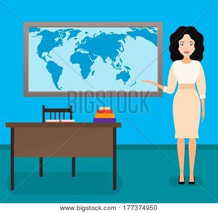 geography teacher young woman. vector illustration. the interior of the class.