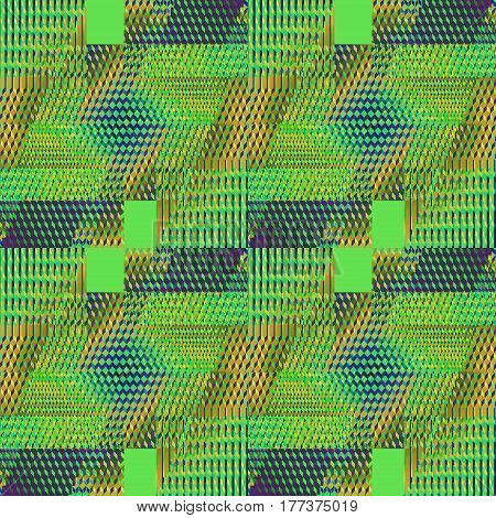 Abstract geometric seamless modern background. Regular intricate diamond and squares pattern in light green, blue, ocher brown and purple shades.