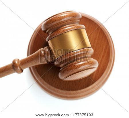 Gavel on white background