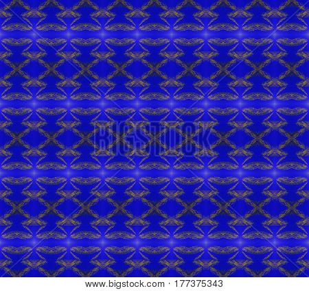 Abstract geometric seamless background. Regular diamond pattern golden brown on dark blue.