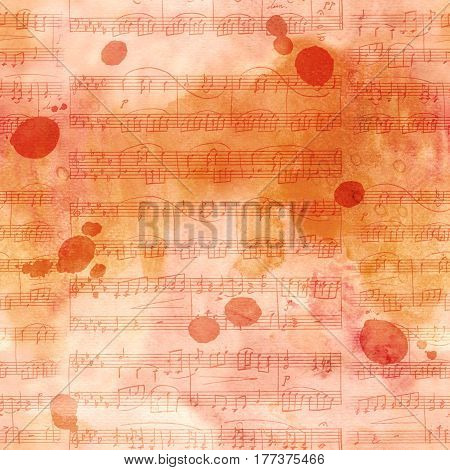 A seamless background pattern with sheet music and ink stains, sepia toned