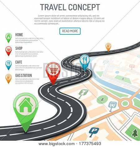 Travel and Navigation Concept with flat icons marking road, pointer and map. vector illustration