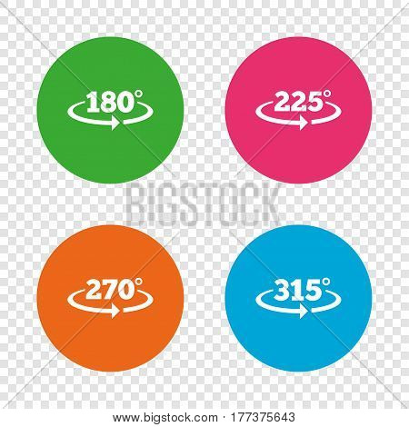 Angle 180-315 degrees icons. Geometry math signs symbols. Full complete rotation arrow. Round buttons on transparent background. Vector