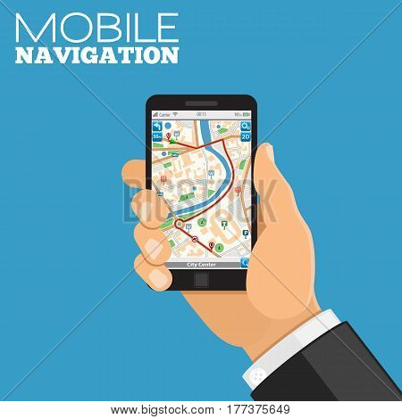 Mobile GPS Navigation Concept. Hand holds smartphone with map. flat style icons. isolated vector illustration