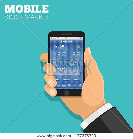 Mobile stock market Concept. Hand holds smartphone with Stock exchange application. flat style icons. isolated vector illustration