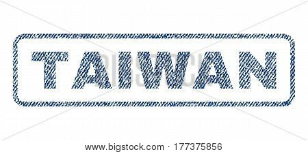 Taiwan text textile seal stamp watermark. Blue jeans fabric vectorized texture. Vector tag inside rounded rectangular shape. Rubber sign with fiber textile structure.