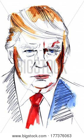Madrid, Spain - March 17, 2017: a watercolour and pencil portrait of Donald Trump, American president. Hand drawn watercolor illustration on white background