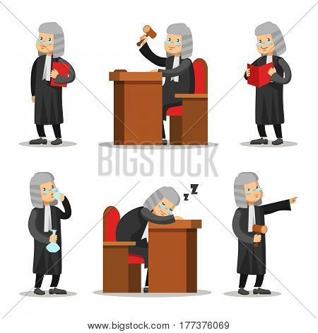 Judge Cartoon Character Set. Law and Justice. Vector illustration