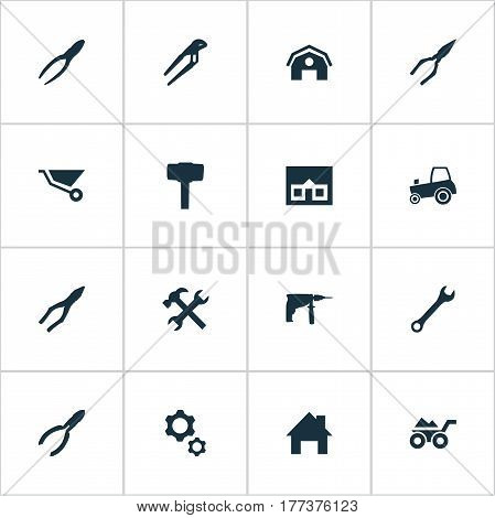 Vector Illustration Set Of Simple Repair Icons. Elements Workshop, Cart, Carpentry Equipment And Other Synonyms Empty, Tractor And Agriculture.
