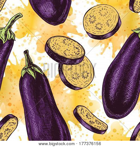 Seamless pattern with eggplant. Retro background. Vintage style. Linear graphic design. Colored image of vegetables. Vector illustration.