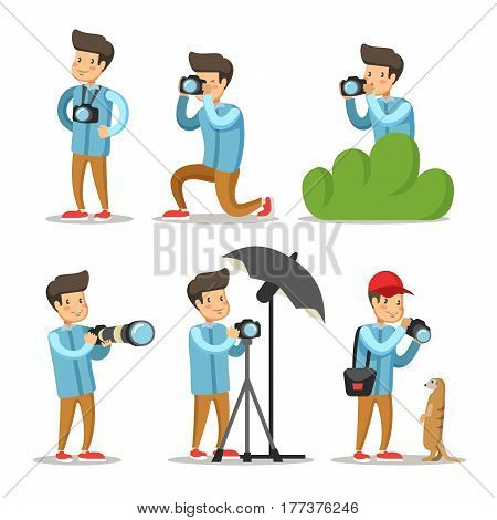 Photographer Cartoon Character Set. Man with Photo Camera. Vector illustration