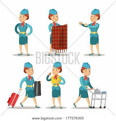 Stewardess Cartoon in Uniform. Air Hostess. Vector illustration