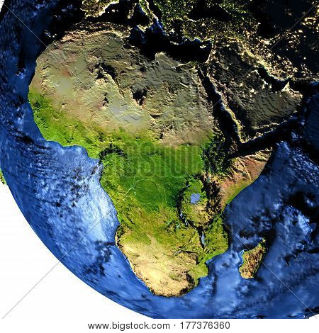Africa On Earth At Night With Exaggerated Mountains
