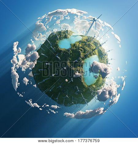 wind turbines on green planet, 3d illustration