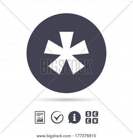 Asterisk footnote sign icon. Star note symbol for more information. Report document, information and check tick icons. Currency exchange. Vector