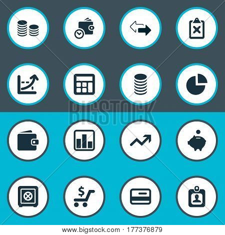 Vector Illustration Set Of Simple Banking Icons. Elements Strongbox, Calculator, Wallet And Other Synonyms Cash, Division And Locked.