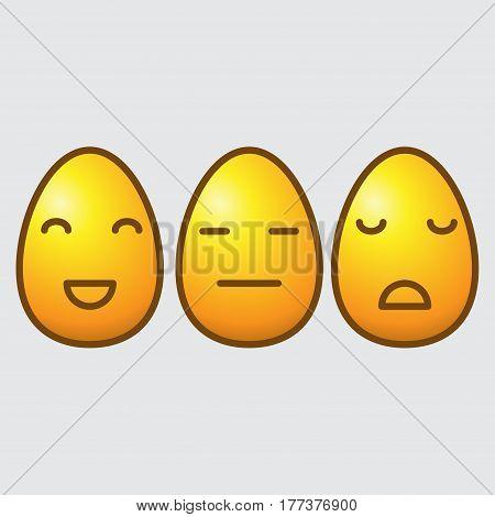 Set of three yellow egg emoticons isolated on white