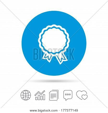 Award icon. Best guarantee symbol. Winner achievement sign. Copy files, chat speech bubble and chart web icons. Vector