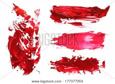 Abstract acrylic brush strokes. Collection. Isolated.